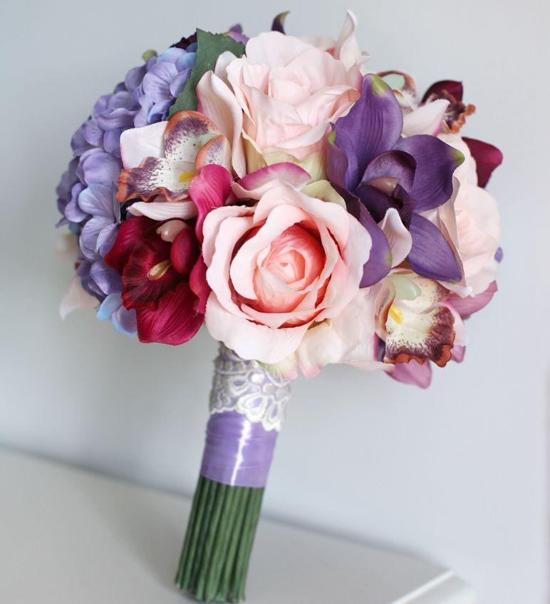 Vintage Silk Flowers Purple Artificial Wedding Bouquets Bridal ...