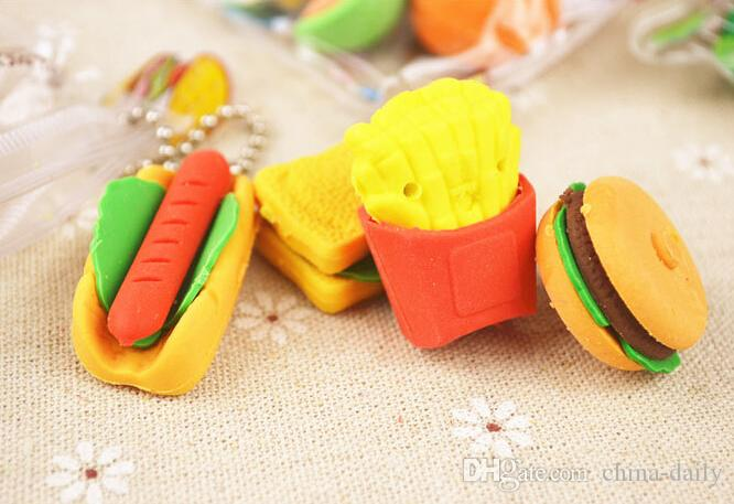 Free EMS DHL 100 Packs Mixed Fresh Fruit Eraser Food Cake Eraser Cartoon Animal Rubber Pencil Eraser With Nice Bag Christmas Gift
