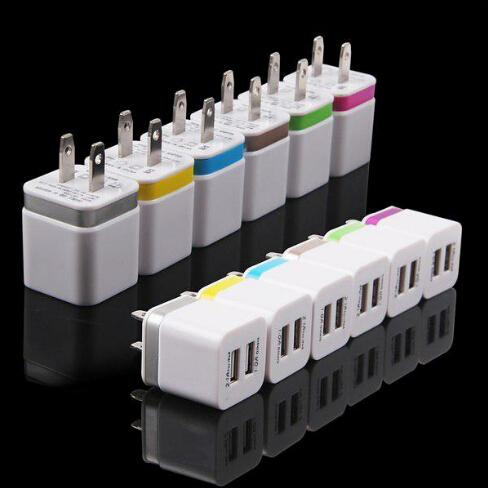 Metal Dual USB wall US plug 2.1A AC Power Adapter Wall Charger Plug 2 port for samsung galaxy note LG tablet