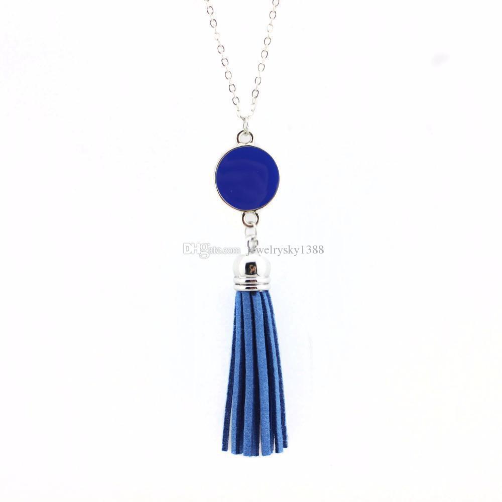 Персонализированные начальные монограмма заготовки кабошон Акриловая эмаль диск кожа бархат кисточкой длинная цепь кулон ожерелья для женщин ювелирные изделия
