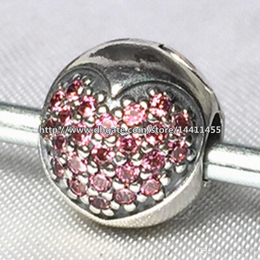Autentisk 925 Sterling Silver Rosa Pave Heart Clip Charm Pead With Cubic Zirconia Passar European Pandora Smycken Armband Halsband