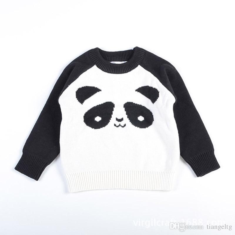 6e3aae6ecc4c New Kids Panda Sweaters Pullover Knitted Spring Autumn Long Sleeved ...