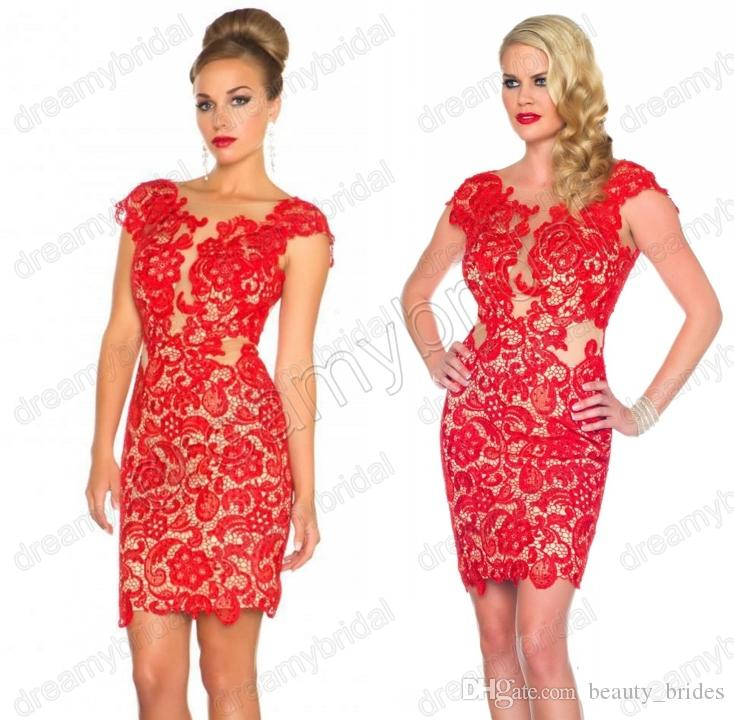 Scoop Red Lace Cocktail Dresses 2015 Short See Through Evening ...
