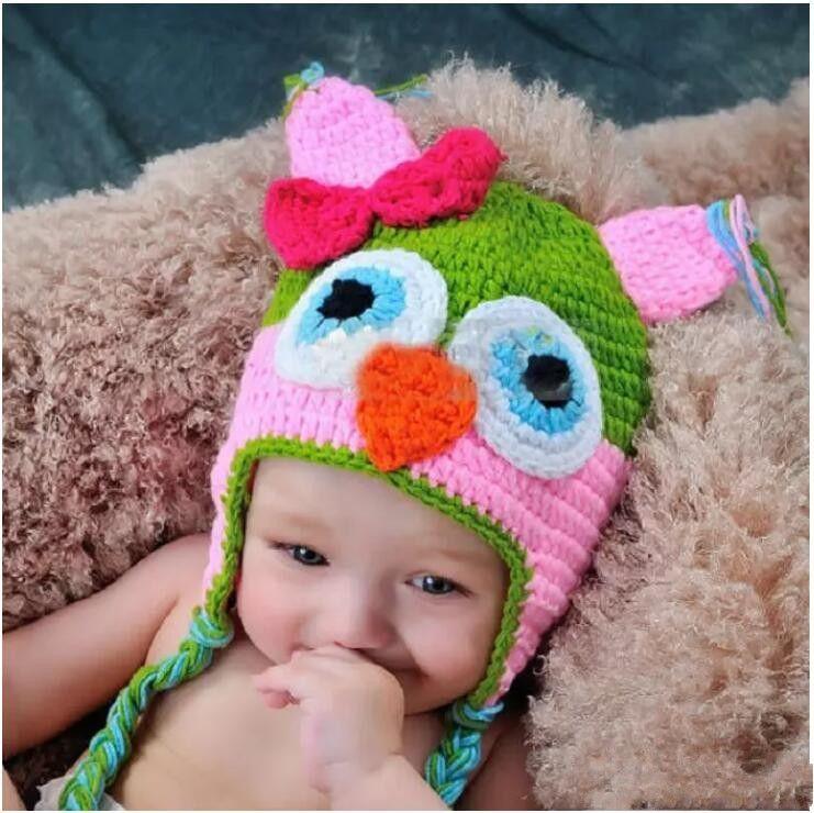 Toddler Owl Ear Flap Crochet Hat Children Handmade Crochet OWL Beanie Hat Handmade OWL Beanie Kids Hand Knitted Hat