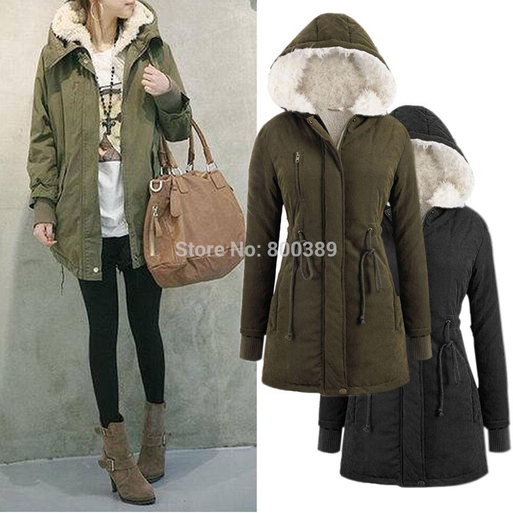 2018 Tops Womens Coat Warm Long Sleeve Hooded Jacket Fur Wool ...