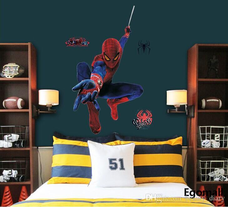 3d Spiderman Wall Stickers Wall Decals Removable Pvc Superman Wall Stickers  Home Decor Mural For Boysu0027 Room Decor 60*90cm Large Wall Decals Large Wall  ...