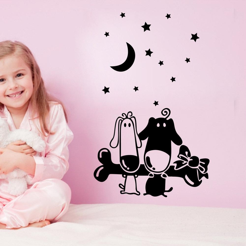 Cartoon Puppy Bones Wall Art Mural Decal Sticker Little Star Moon Wallpaper  Decoration Poster Home Art Decor Kids Boys Girls Room Wall Decal Word Wall  ... Part 89