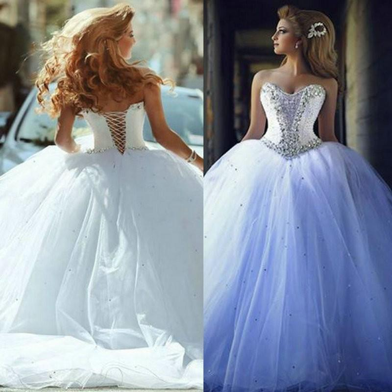 New Sparkle Wedding Dresses Vintage Ball Gown Bridal Sexy Beaded Lace Up Sweetheart Corset Stunning Gowns Custom White Dress