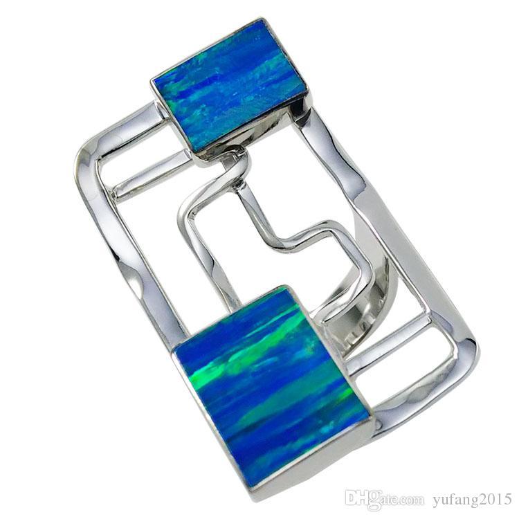 Двойной квадратный опаловый камень стерлингового серебра различных цветов, стильное кольцо ручной работы, нерегулируемый для R1032.
