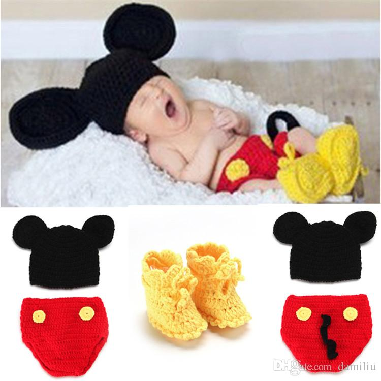 d6e1487edd1037 Mickey Designs Crochet Baby Hats Photo Props Infant Costume Outfits Newborn  Crochet Beanies&pants&shoes Clothes 1set MZS-14016