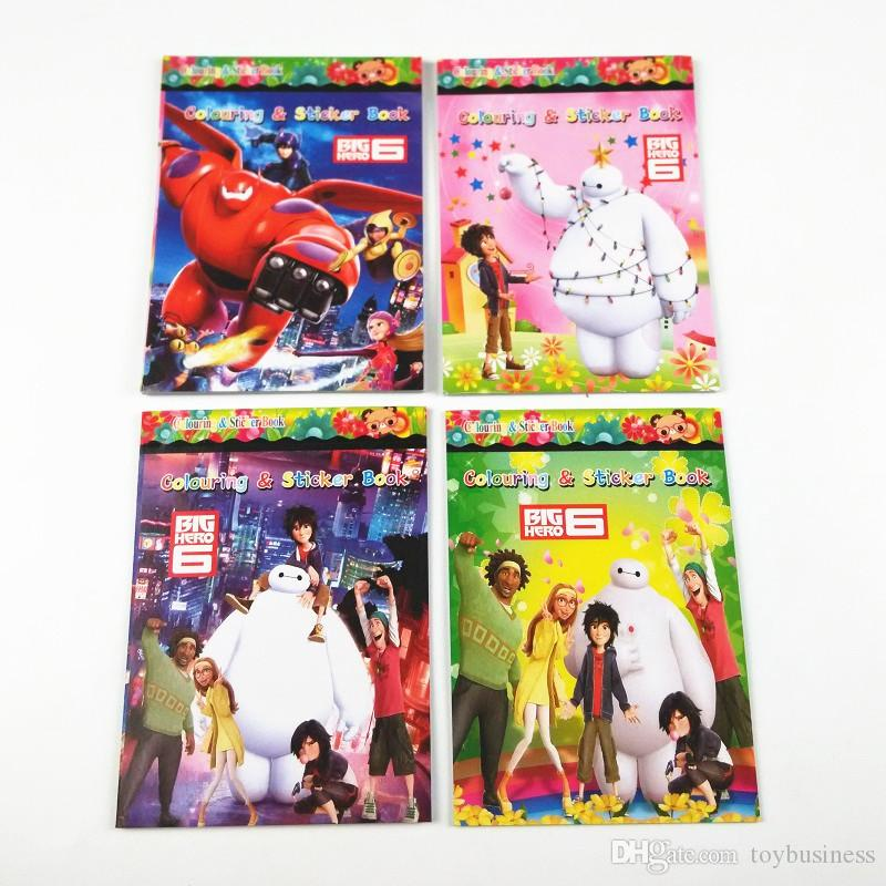 big hero 6 cartoon coloring book colouring sticker book drawing book kids learning stationery education learn supplies stationery kids toys colouring books