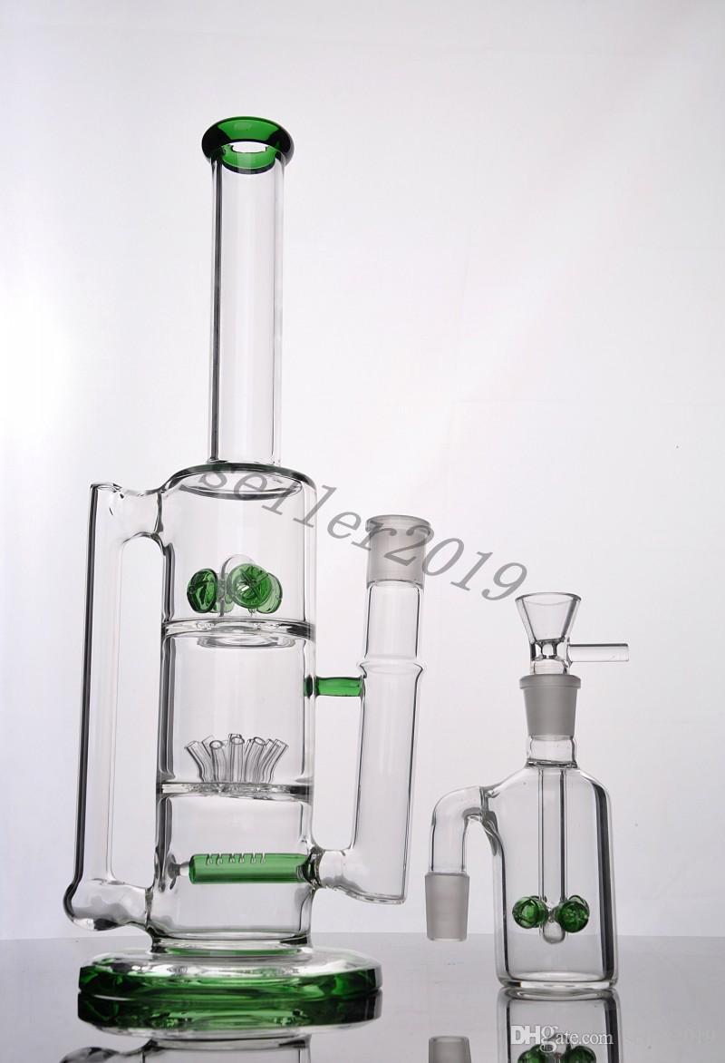 2016 más nuevos tubos de agua de cristal bongs de vidrio con verde perc sprinkle y perla liner perc y engranaje perc Centeno Envío Gratis