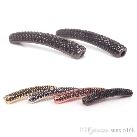 Gold RoseGold Silver BLack Curved Tube Beads,Micro Pave Black CZ Crystal Copper Tube Beads For Leather Bangle Bracelets Making,28x5mm
