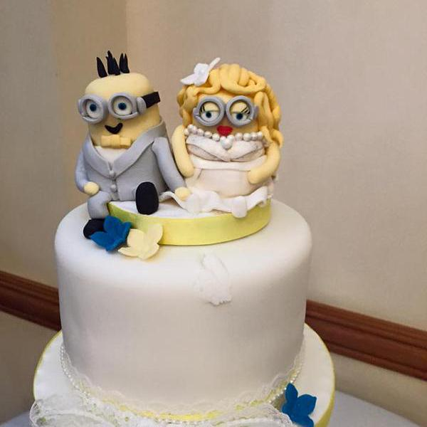 Custom Wedding Cake Toppers Bride And Groom Minions Dispicable Me Decoration Personalised Novelty Handmade Barn
