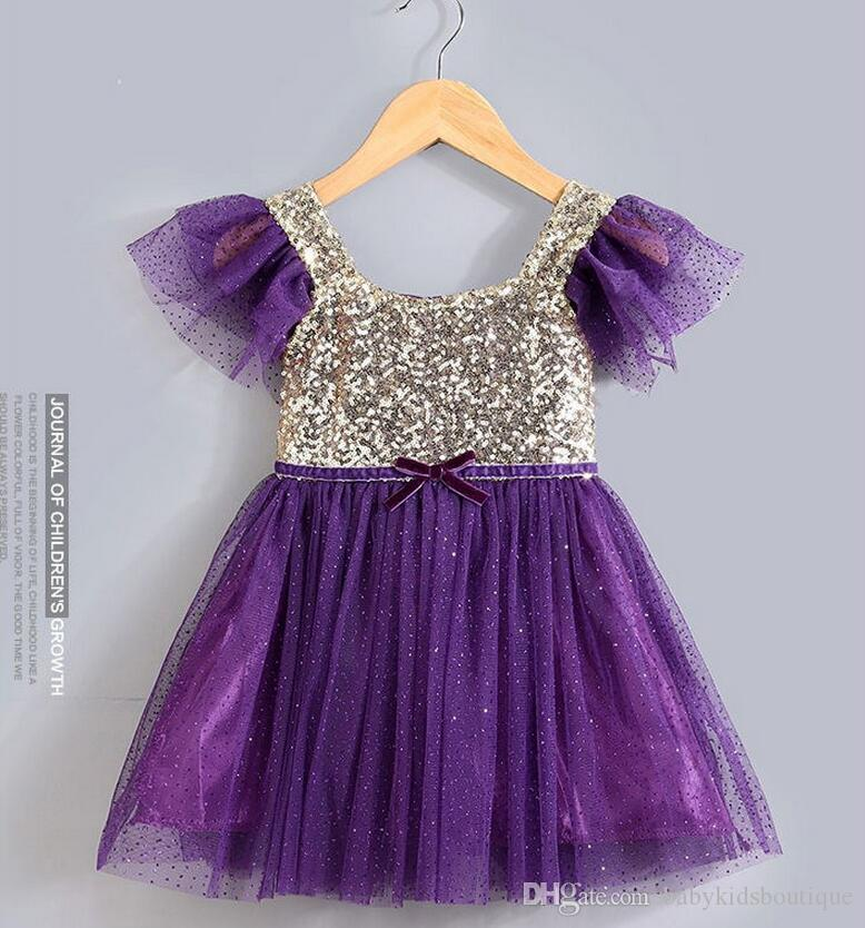 핫 세일 여자 드레스 어린이 접영 어깨 장식 톱 Tulle 드레스 패션 아이 옷 도매 프린스