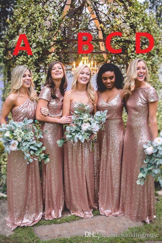 Nuovo 2020 in oro rosa con paillettes abiti da sposa Mermaid abiti da damigella d'onore su ordine il vestito da festa di nozze
