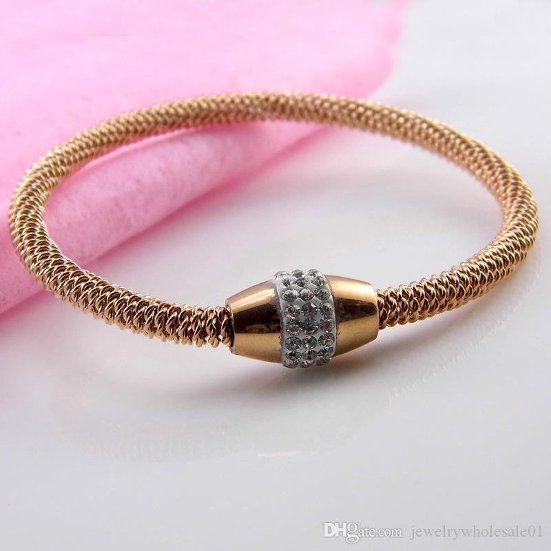 Fashion titanium steel bangle stone change bracelet nail screw European men women bangles for women new style bracelets bangles titanium