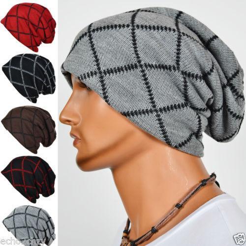 Mens Slouchy Beanies Knit Cap Gridding Skull Winter Bonnet Hat