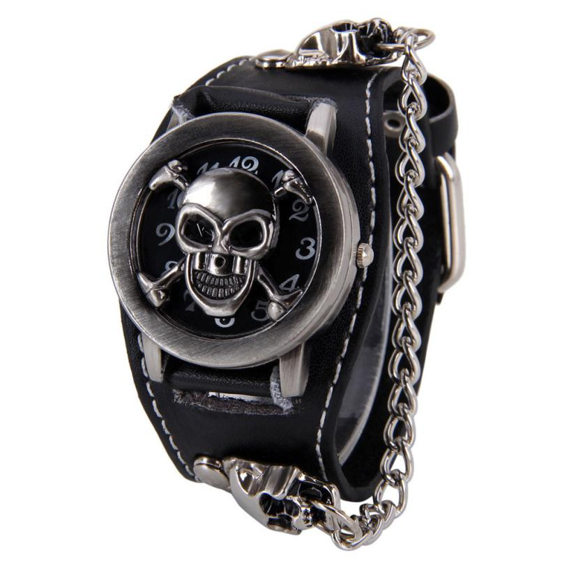 Attractive Stylish Black Punk Rock Chain Skull Watches ...