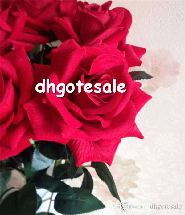 الأحمر الاصطناعي المخملية الورود محاكاة الفانيلا الورود واحدة الضفر الطابق الخيالة روز لزهرة الزفاف