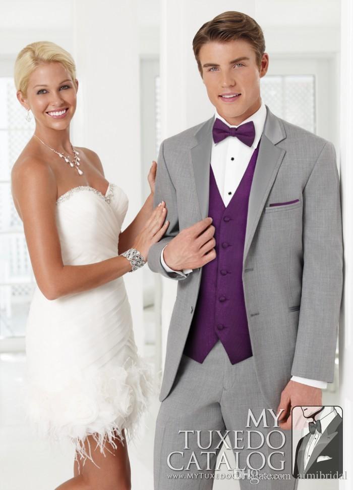 2017 Grey Three Pieces Tuxedos Groom Wear Men Suits Purple ...