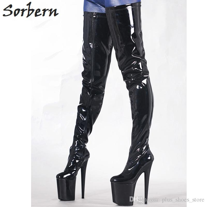 "Sorbern Sexy 8"" High Heeled Bottes Femmes High Heel Platform Crotch Length Thigh Boot Erotic Boots Shoes Botas Feminina Outono Inverno"
