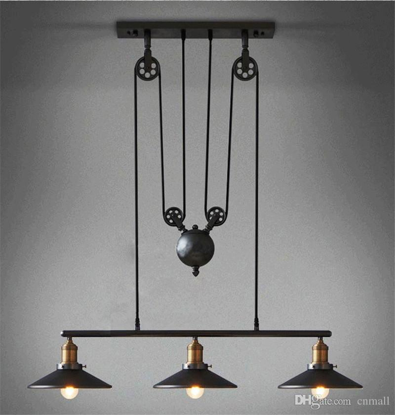 Vintage Iron RH Loft Industrial Pendant Lamp American Country Pulley Pendant Lights Adjustable Wire Lamps Retractable Bar Lighting + Mirror