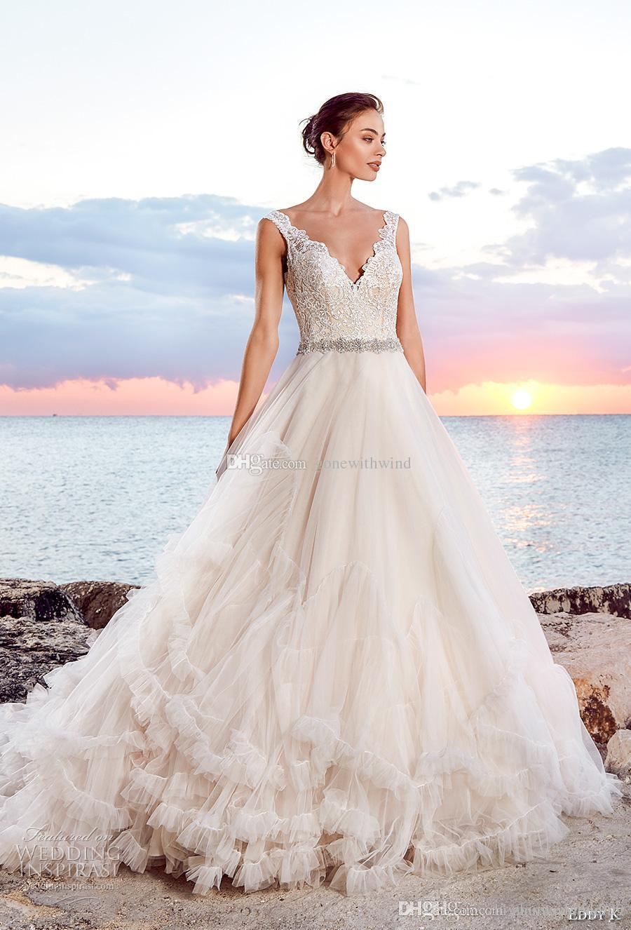 Romantic Princess Beach Wedding Dress 2018 Eddy K Bridal Sleeveless ...