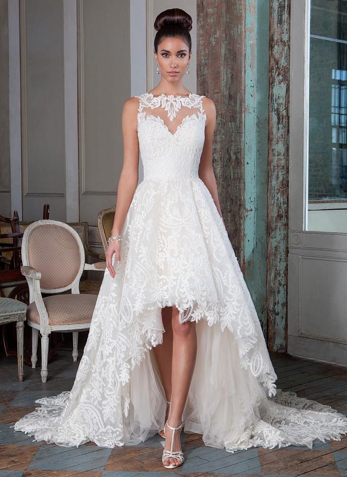 2017 New Unique Lace Wedding Dress Short Front Long Back