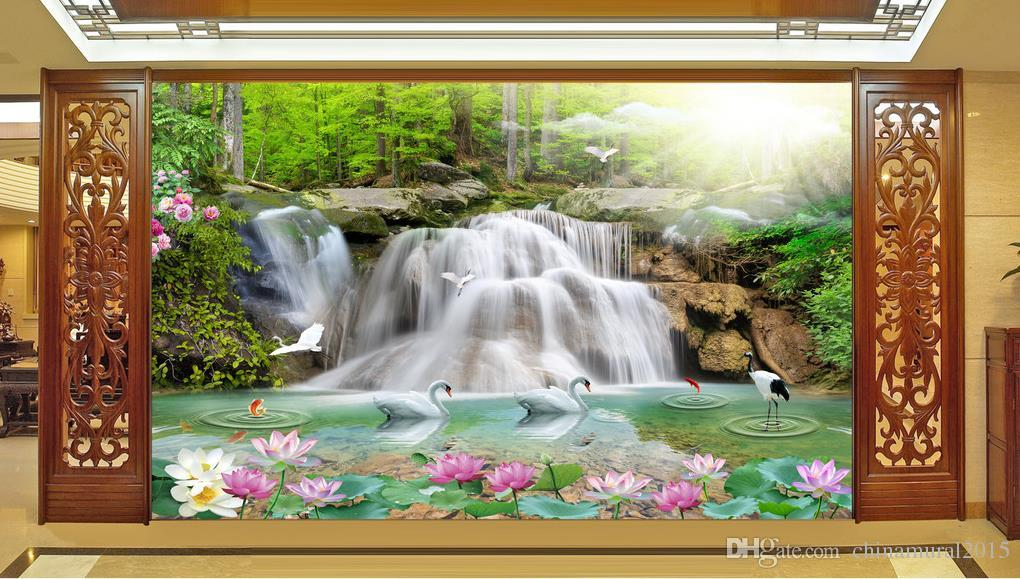 D Paisaje estereoscópico cascada Wallpaper For Wall bathroom 3d wallpaper For Living room 3d nombre fondos de pantalla