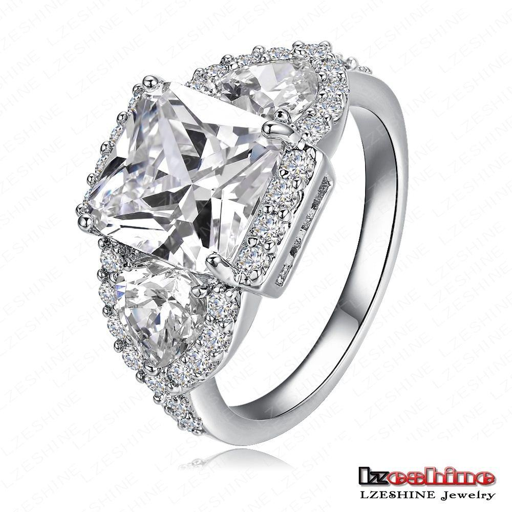 Lzeshine Brand 2015 New Style Wedding Rings Real 18k Gold Platinum Plated Micro Inlay Zircon Angel Wings Wholesale Cri0005 White Bands