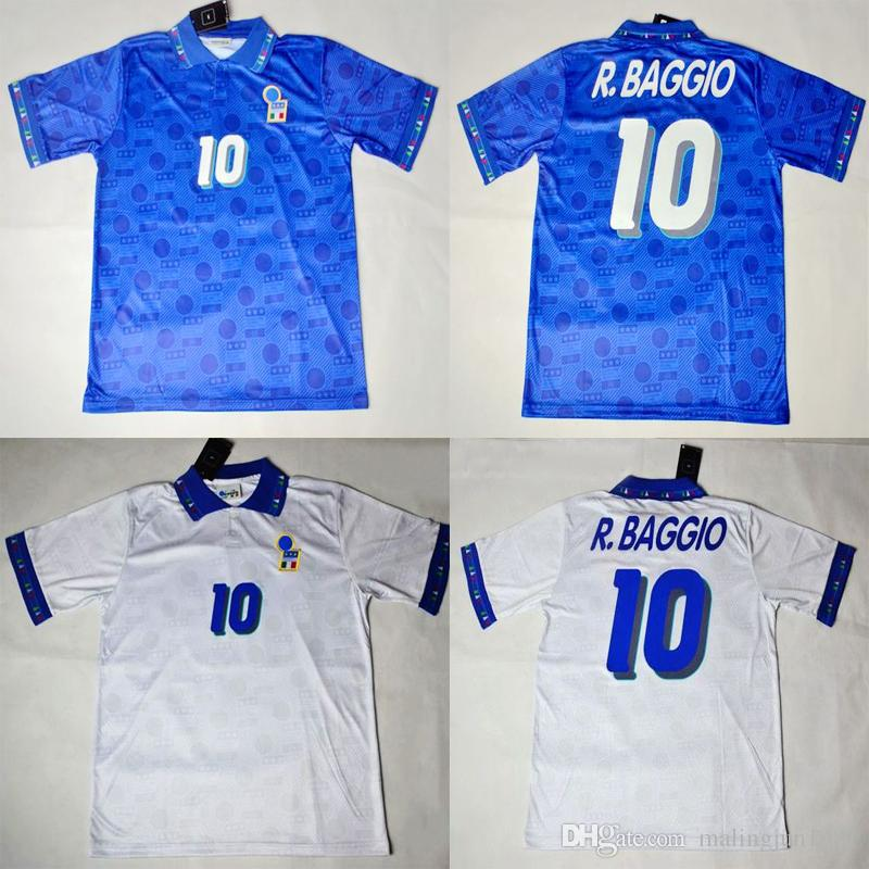 3475fe9c3c6 2019 94 Italy Roberto Baggio Retro Soccer Jersey Football Shirts 1994 Home  Blue Away White Italia Classical Vintage Calcio MAGLIA From Malingjun1981