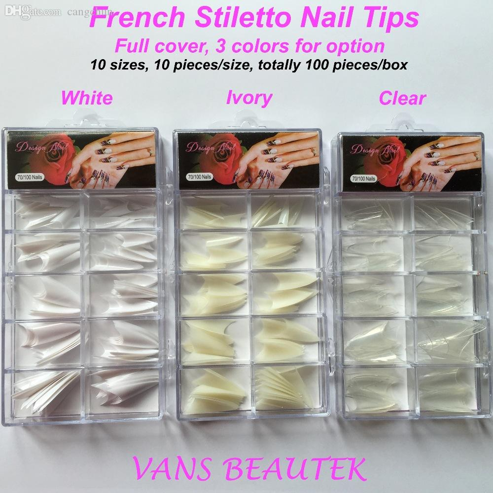 Wholesale French Sharp End Stiletto Acrylic Nail Tips Full Cover ...