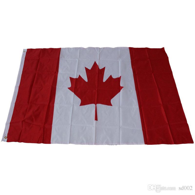 3 * 5 pies Bandera de arce Bandera nacional canadiense 90 * 150 cm Utilizado para la Copa del mundo del festival Decoraiton en casa de alta calidad 6qta C R
