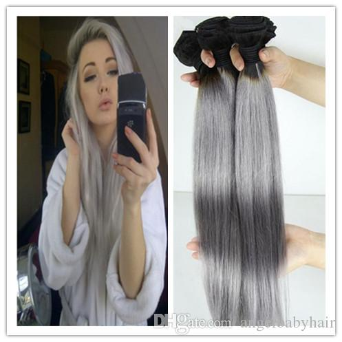Silver grey human hair extensions straight 7a brazilian gray hair silver grey human hair extensions straight 7a brazilian gray hair extension 3pcslot human hair weaving 100 grey silver hair pmusecretfo Images