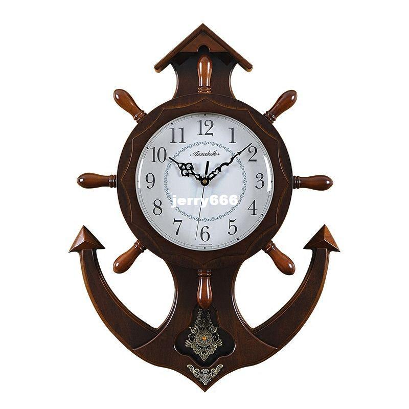 Large Living Room Wall Clock Wooden Rudder Anchor Mute Pocket Watch