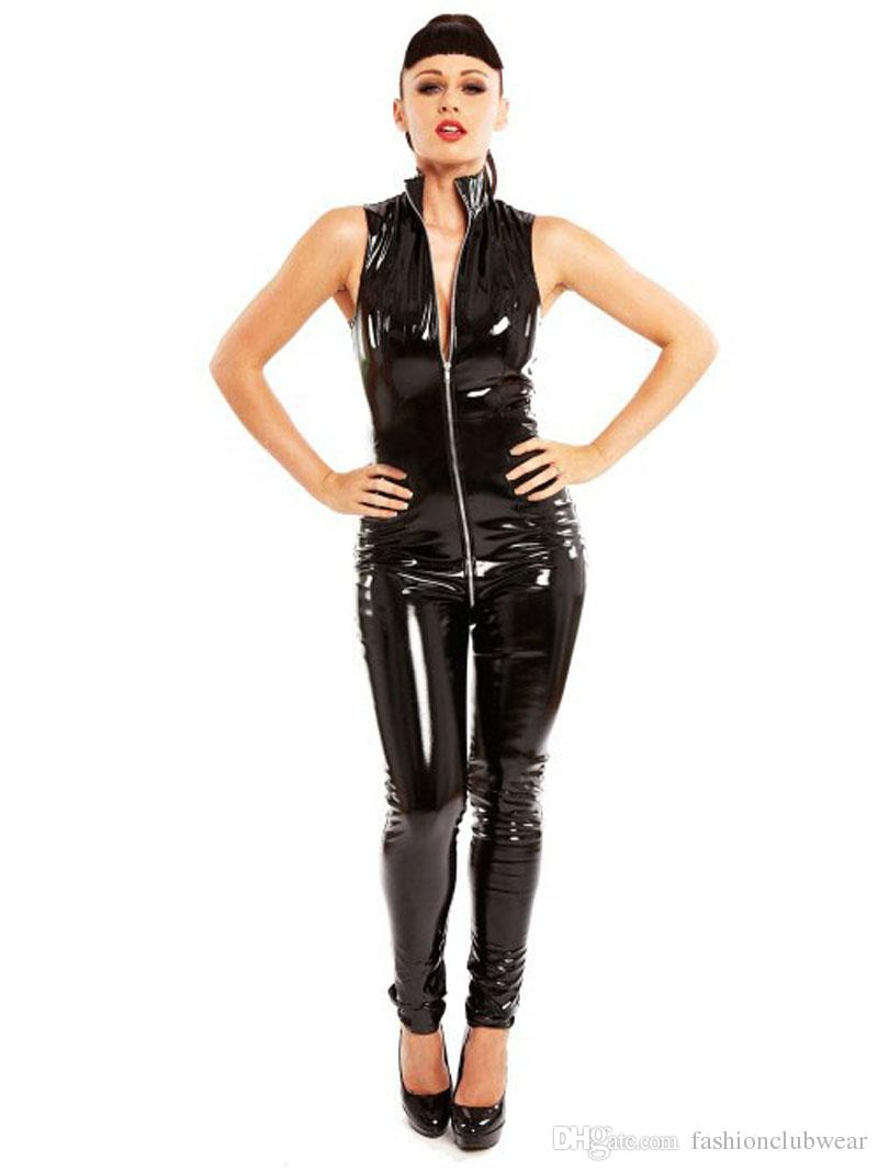 195d2fdb20 2019 Wetlook Women Faux Leather Catsuit Sexy Turtleneck Sleeveless Bodysuit  Fetish Zipper Bodycon Stretch Jumpsuit Erotic Costumes From  Fashionclubwear