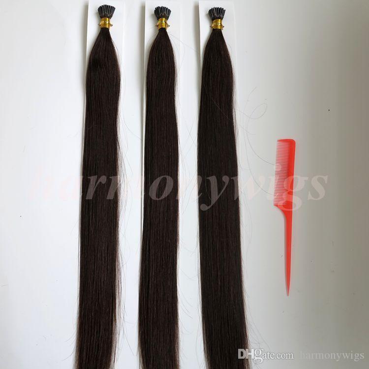 Предварительно связали я наконечник бразильский человеческих волос 50g 50Strands 18 20 22 24inch #2/темно-коричневый Индийский волос продукты