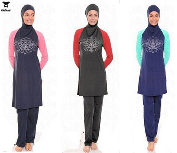 f4f96fe609535 2019 Women S Full Coverage Modest Swimsuit Hijab Hooded Muslim Swimwear  Islamic Clothing Swimsuit For Muslim Women Islamic Swimsuit Arab Garment  From ...