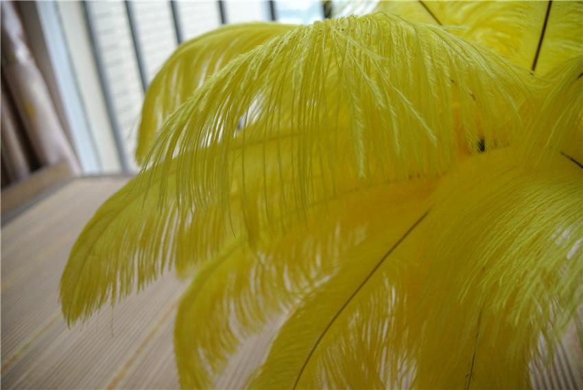 Groothandel -100 stks / partij 14-16 inch gele struisvogel veer veren pluim bruiloft middelpunt bruiloft decor party decor