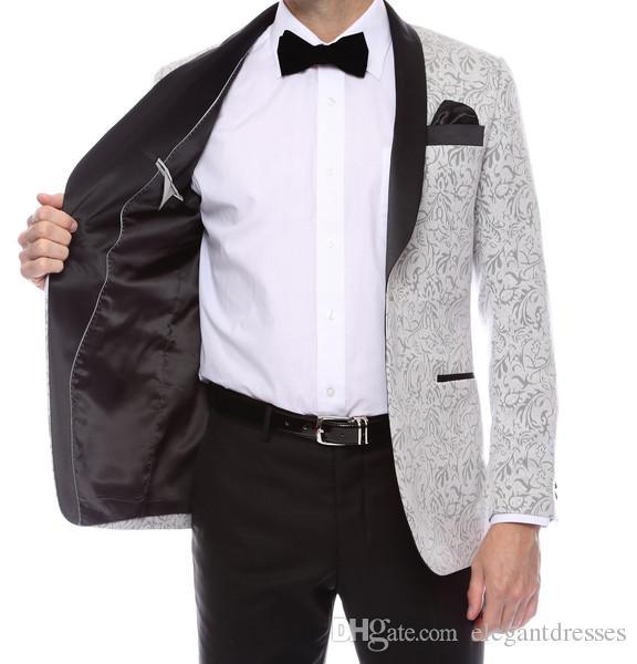 그래머 남성 실버 태피스트리 슈퍼 슬림 피트 신랑 턱시도 2021 사이드 신랑 들러리 남성 웨딩 댄스 파티 정장 맞춤 제작 재킷 + 바지 + 넥타이 + 조끼