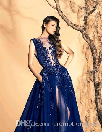 Luxury Zuhair Murad Evening Dresses 2016 Sheer Neck High Side Slit Long Prom Gowns Sequin Crystal Formal Party Dress