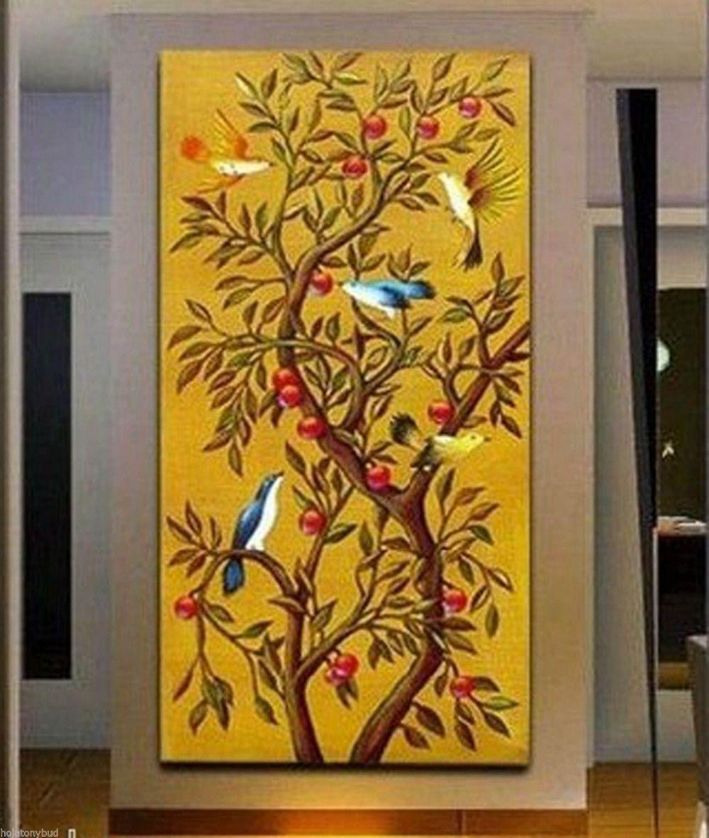 2018 Yellow Auspicious Trees Birds Falling Branches Abstract Art ...