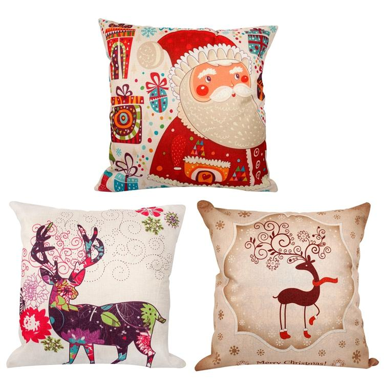 45 * 45 cm Fronha Decorações de Natal Para Casa De Papai Noel Natal Cervo De Algodão De Linho Capa de Almofada Home Decor