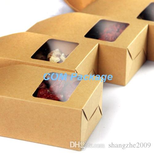 Wholesale 8*15.5*5cm Kraft Paper Box With Clear Window DIY Gift Packaging Food Storage Packing Oragan Bag For Snack Cookies Nuts