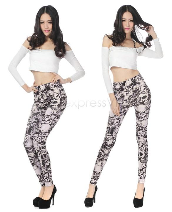 Sexy Skinny Women Leggings skull print Long Slim Stretch patrón Promoción Delgado Pantalones de fitness Pantalones B19 CB036092