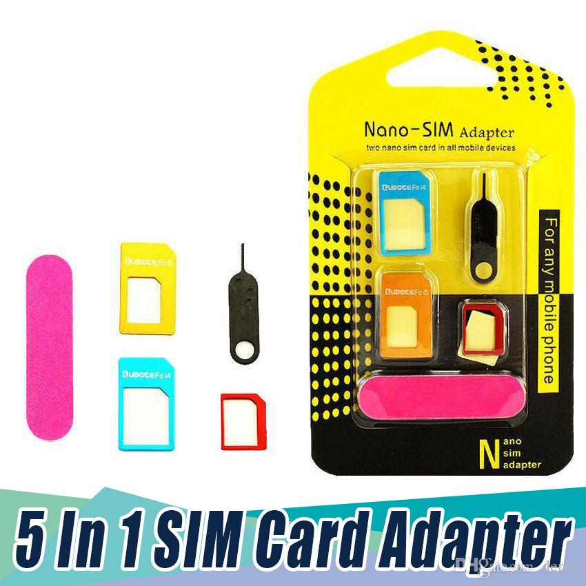 5 In 1 Metal SIM Card/Micro SIM Card/Standard Sim Converter Adapter For IPhone All Cell pone With Eject Pin