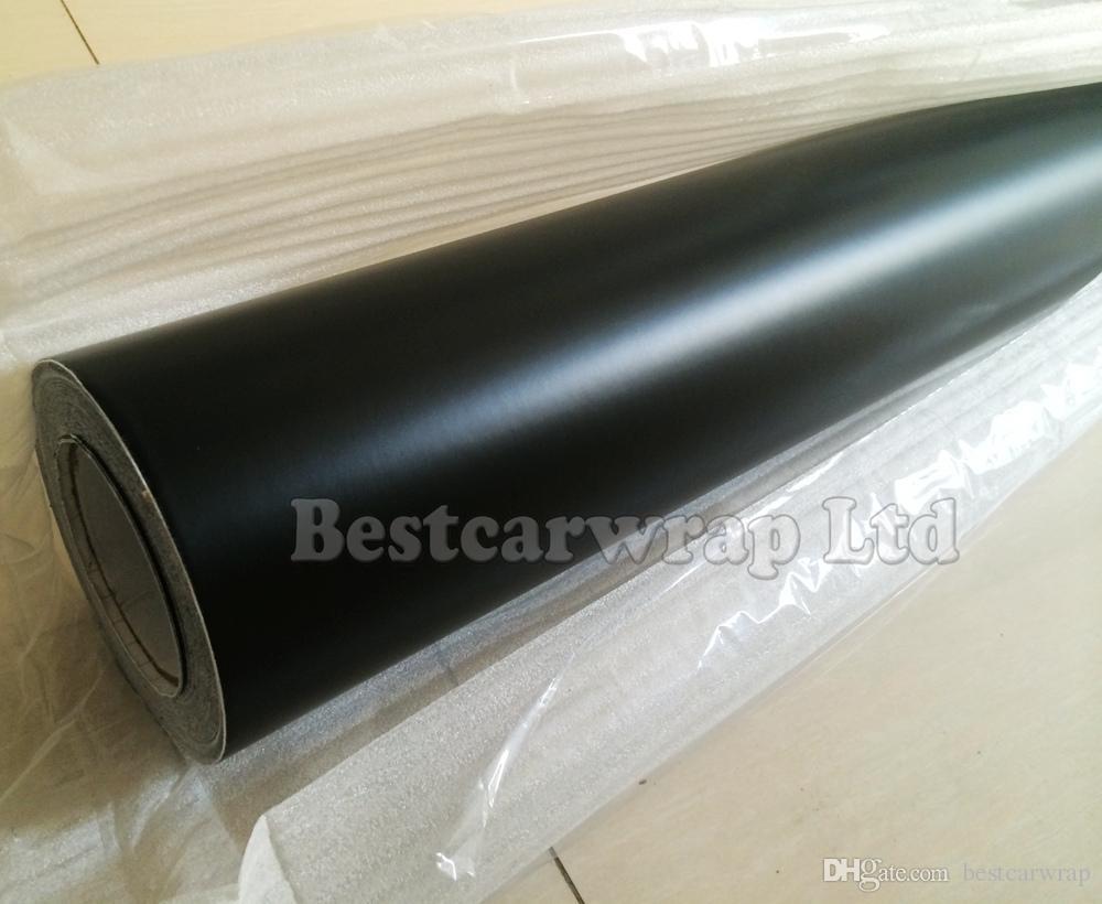 Film d'emballage de voiture vinyle mat noir avec bulle d'air gratuit Matt noir film autocollants de voiture Taille d'emballage: 1,52 * 30m rouleau Fedex livraison gratuite