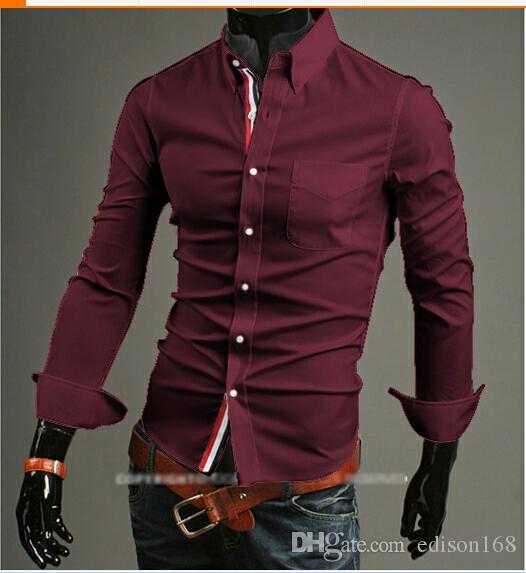새로운 도착 패션 남성 슬림면 긴 소매 셔츠는 세련된 드레스 9007 M-3XL에 맞게