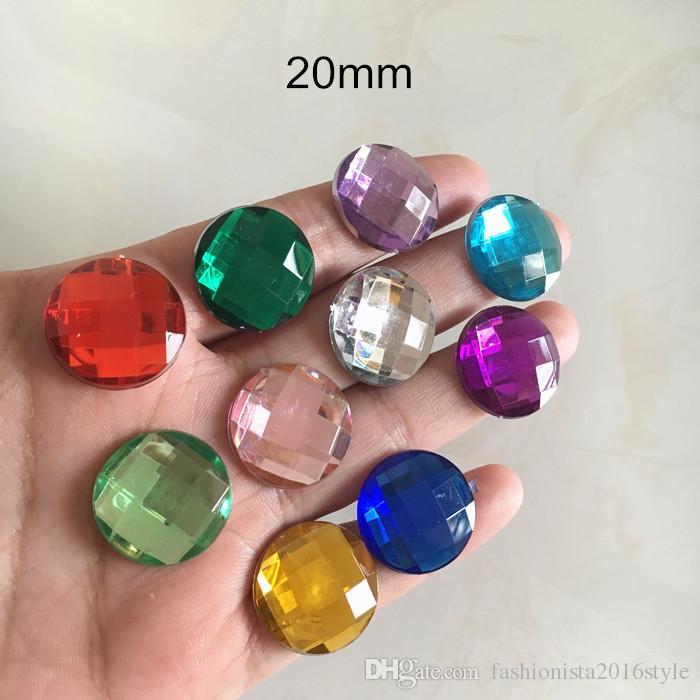 20mm Round Flat Back Faceted Rhinestone Beads,Acrylic Rhinestone Cabochon For DIY Jewelry -